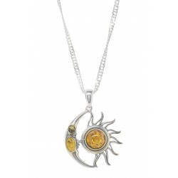 Silver and Amber pendant Moon and Sun shape
