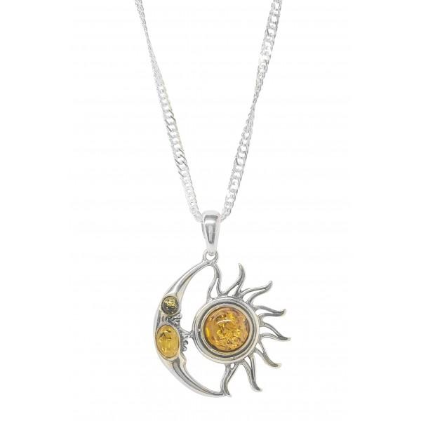 Pendentif en Argent et Ambre forme Lune et Soleil