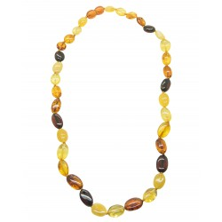 Adult amber necklace with multicolored pearl