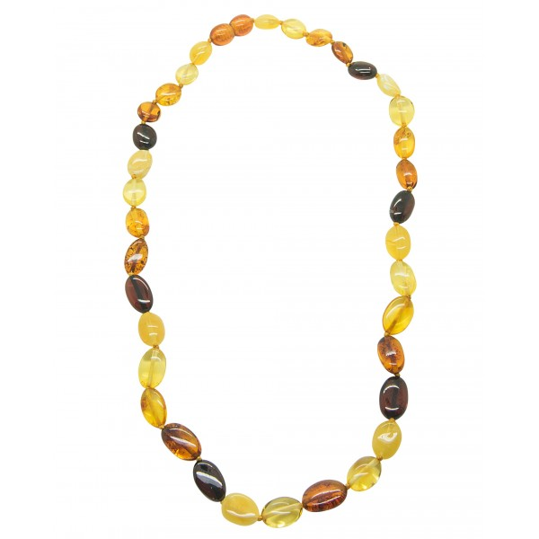 Collier d'ambre adulte avec grosse perle multicolore