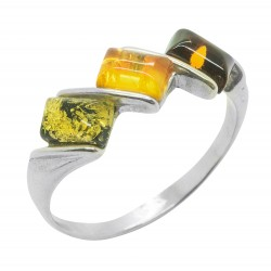 Bague d'ambre multicolore