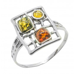 Silver and Amber honey, lemon and green ring