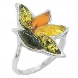 anello ambra multicolore e argento 925/1000