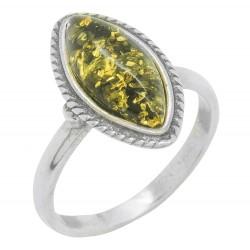 anillo de ámbar verde y plata 925/1000
