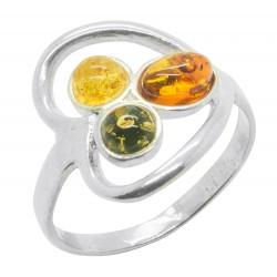 en forma de corazón argen anillo 925 / 1000T y Ámbar natural