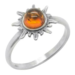 Cognac amber ring and silver 925/1000