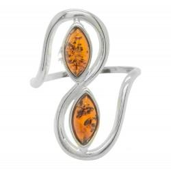 Bernstein-Ring Cognac und Silber 925/1000