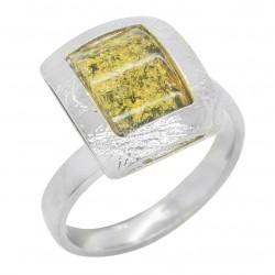 anello ambra verde e argento 925/1000