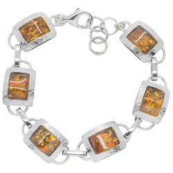 Silver and natural cognac amber bracelet