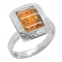 coñac anillo de ámbar y plata 925/1000