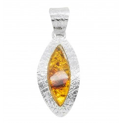 Amber cognac pendant and Silver 925/1000