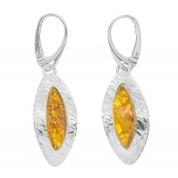 Silver 925/1000 earring and cognac amber