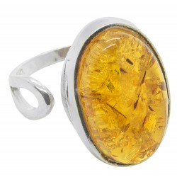 Ring of amber honey and silver 925/1000