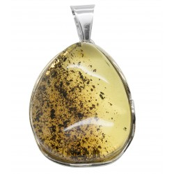 Large light green amber and sterling silver pendant