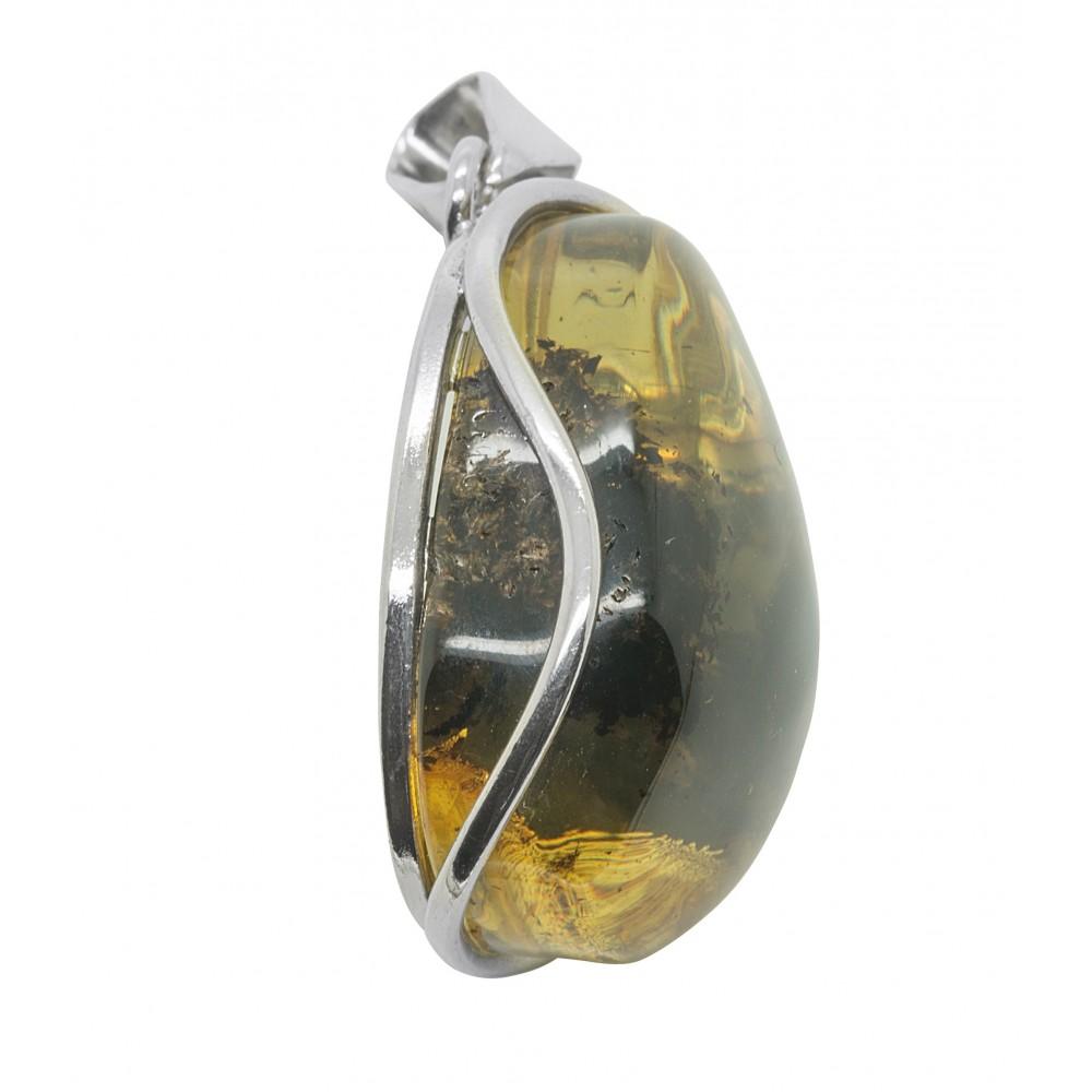 6791d8a1db4 Gros pendentif ambre vert clair et argent 925 1000 - Bijoux d Ambre