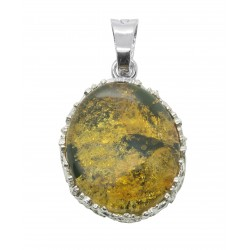 Large amber pendant green and silver 925/1000, round shape
