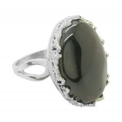 Gran anillo de cereza de color ámbar y plata 925/1000