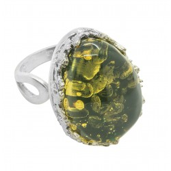 Big green amber ring and silver 925/1000