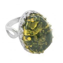 Big Ring aus grün und gelb Silber 925/1000