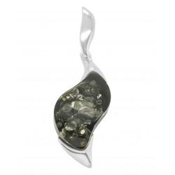 Silber Anhänger mit natürlichem grünem Bernstein Stein