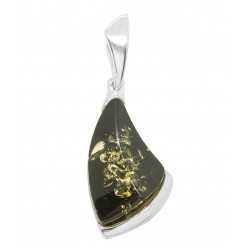 Pendant with natural green amber and 925/1000 silver
