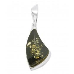 Pendentif en ambre vert et argent 925/1000