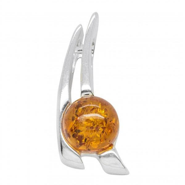 Pendentif Argent avec perle ambre cognac