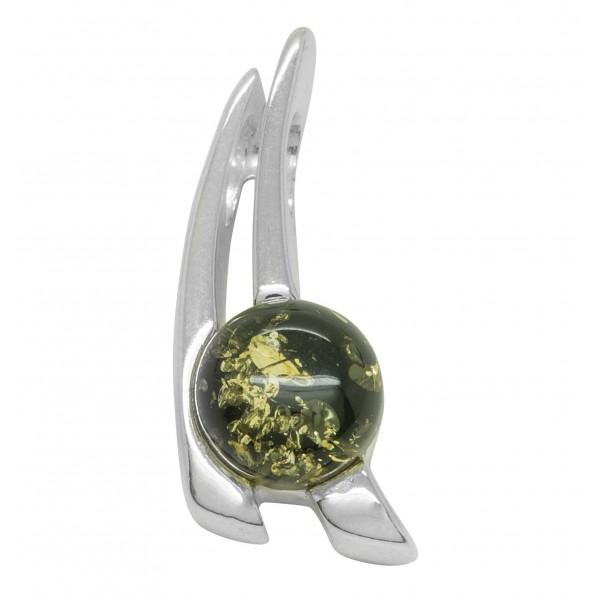 Pendentif Argent avec perle ambre vert