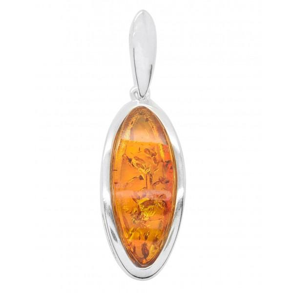 Pendentif en Argent et ambre naturel couleur cognac