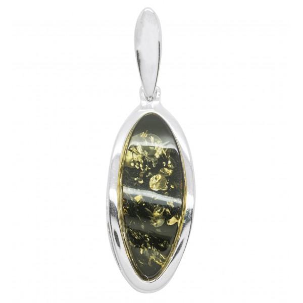 Pendentif ambre vert et argent forme ovale