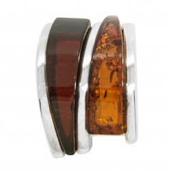 Two-tone Amber and Silver 925/1000 pendant