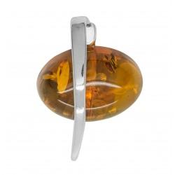 cognac ciondolo ambra argento