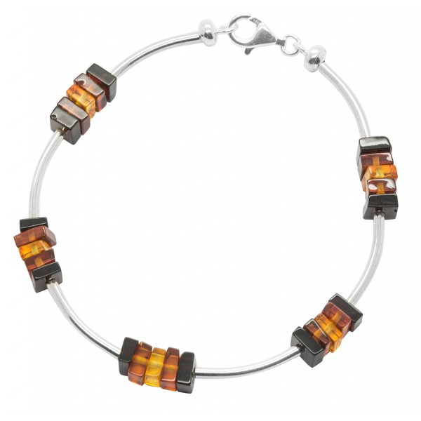 Bracelet en Ambre multicouleur et Argent 925/1000