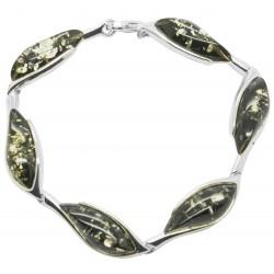 Bracelet ambre vert et argent 925/1000