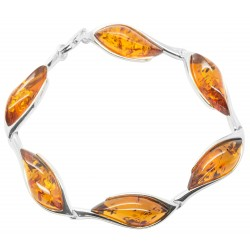Amber cognac and silver 925/1000 bracelet