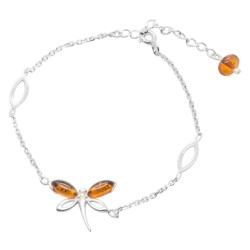 Pulsera de ámbar y plata 925/1000 - libélula