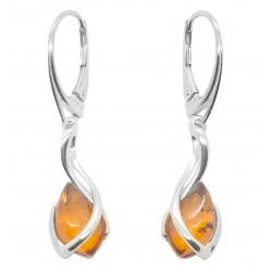 Boucle d'oreille avec perle d'ambre cognac et Argent 925/1000