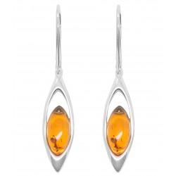 Ohrring Natürliche Bernstein Cognac und Silber 925/1000