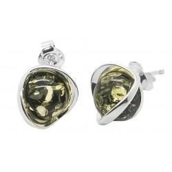 Boucle d'oreille Argent et Ambre naturel miel - demi-sphère