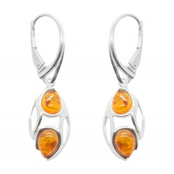 Modern Amber Cognac and Silver Earring
