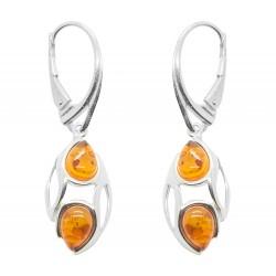 Boucle d'oreille moderne en Ambre couleur cognac et Argent