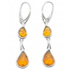 Orecchino d'argento e perle naturali 925/1000 Ambra
