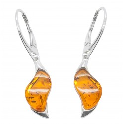Amber cognac and silver earring - zigzag shape
