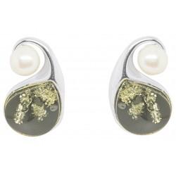 Ohrringe Bernstein und grüne Perle in Silber