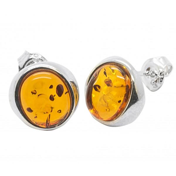 Boucle d'oreille Ambre naturel couleur cognac et Argent 925/1000