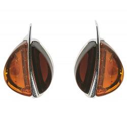 Orecchini ambra naturale Cherry Brandy chicco di caffè a forma di