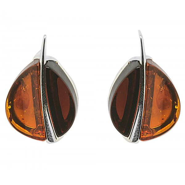 Boucle d'oreille en Ambre naturel cerise et cognac en forme de grain de café