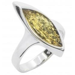 Ring grün Bernstein und Silber Halbmondform