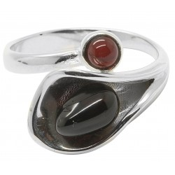 Natural Cherry and 925/1000 Silver Flower Amber Ring