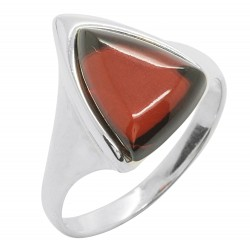 Ring in Amber color cherry and Silver 925/1000 shape triangle